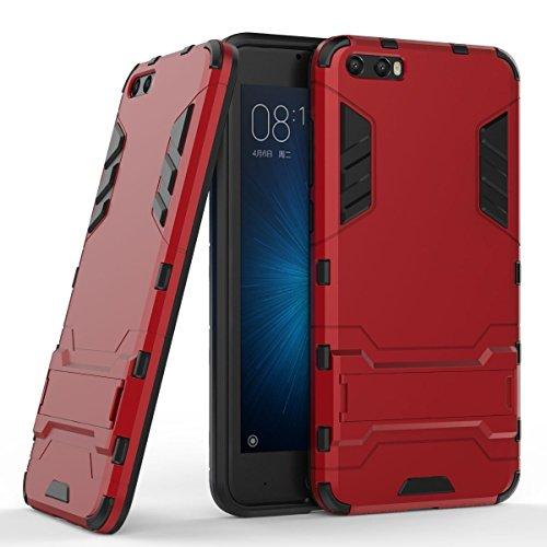 Funda para Xiaomi Mi 6 (5,15 Pulgadas) 2 en 1 Híbrida Rugged Armor Case Choque Absorción Protección Dual Layer Bumper Carcasa con Pata de Cabra (Rojo)