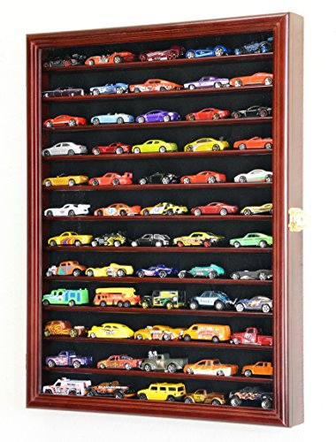 Hot Wheels Matchbox 1/64 Scale Diecast Model Display Case Cabinet Wall Rack w/98% UV Door -Cherry
