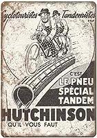 ハッチンソン自転車壁金属ポスターレトロプラーク警告ブリキサインヴィンテージ鉄絵画装飾オフィスの寝室のリビングルームクラブのための面白い吊り下げ工芸品