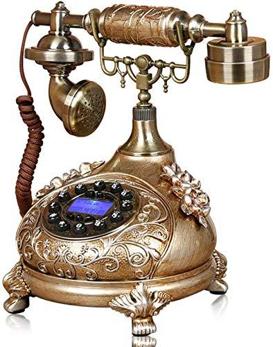SQL Multifuncional línea fija Europea Retro botón Dial teléfono resina tallada antiguo teléfono fijo hogar teléfono fijo redial/pantalla retroiluminación