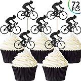 Blulu 72 Pièces Gâteau Topper de Vélo Cake Topper de Vélo Décoration de Gâteau de Vélo de Paillettes pour Fourniture Fête d'anniversaire à Thème Vélo