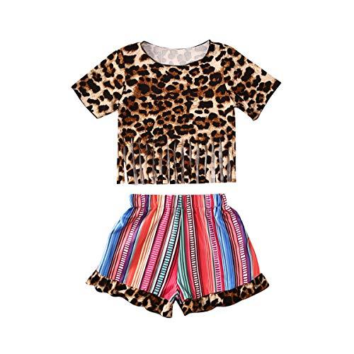 Brede Kleine Meisjes Korte Top Sets Baby Luipaard Print Tassel Top Elastische Band Patchwork Broek Set Zomer Outfit Set 2 Pc