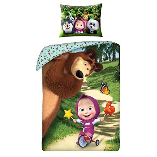 Halantex - MB2233 - Masha y el oso Masha con triciclo oficial - Multicolor - 100% algodón - 140 x 200 cm + 70 x 90 cm