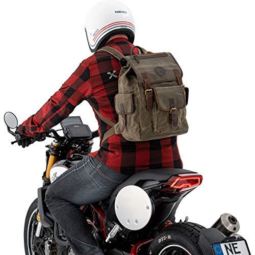 QBag Motorrad Rucksack Herren und Damen Fahrradrucksack Rucksack Canvas Retro II 20 Liter Stauraum, Unisex, Multipurpose, Ganzjährig, Baumwolle, Oliv
