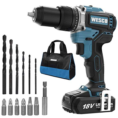 Brushless Drill, WESCO 18V 2.0Ah Cordless Impact Drill Set with 18 Accessories, max Torque 60 N.m, 22 + 1 + 1, 2 Speed (0-500/0-2000 /min), with Belt Clip, Battery and Charger
