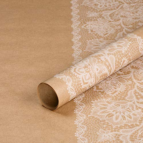 Geschenkpapier Weiße Spitze, Kraftpapier, gerippt, braun, 50 x 70 cm, Hochzeit, Geburtstag, Vintage Stil - 10 Bögen
