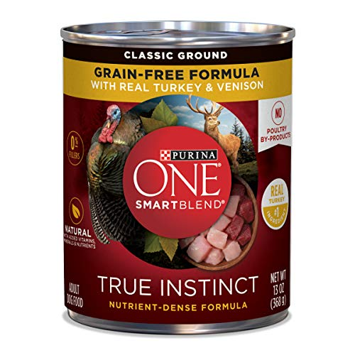 Purina ONE Grain Free, Natural Pate Wet Dog Food, SmartBlend True Instinct With Real Turkey &...