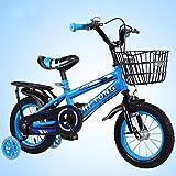 Bicicleta para niña de 2 a 7 años, con Freno de contrapedal, Modelo de 12/14/16/18 Pulgadas, Color Azul, Rojo, Amarillo con Asiento Trasero,Azul,16INCH