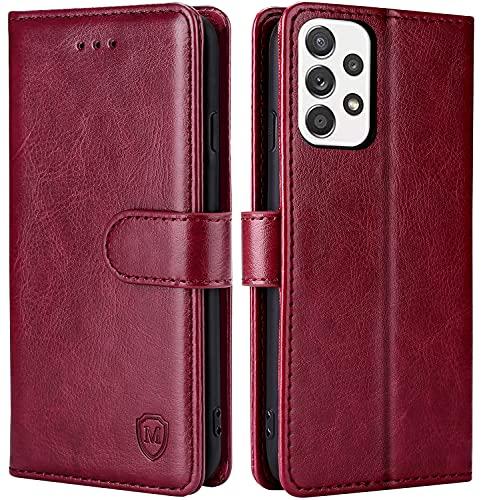 FMPCUON Hülle für Samsung Galaxy A32 5G Handyhülle [Standfunktion] [Kartenfach] [Magnetverschluss] Tasche Flip Hülle Schutzhülle lederhülle flip case für Samsung Galaxy A32 5G Rot
