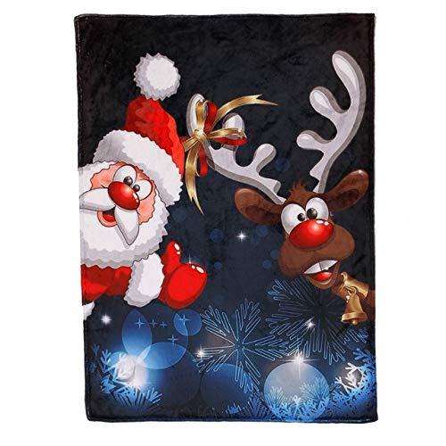 duanlidong Manta de Navidad Franela Tela Sofá Cama Manta Súper Suave Cálido Muñeco de Nieve Patrón Manta...