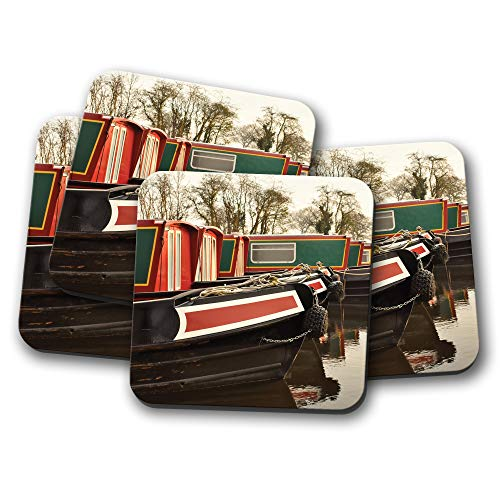 4 Set - Awesome Narrowboats Coaster - Canal Boat River Waterway Fun Gift #16469