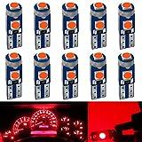DEFVNSY - Confezione da 10 - RossoT5 W3W W1.2 W 73 74 286 17 18 27 37 70 79 85 86 2721 Luminoso 3-3030MD LED Luce per cruscotto lato auto cruscotto cruscotto luci cruscotto lampadina 12V