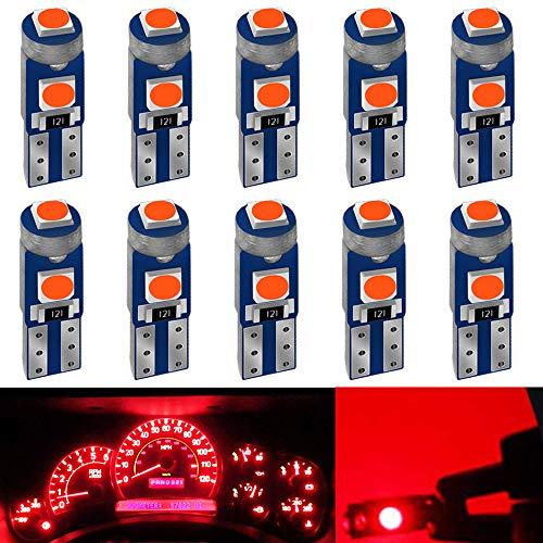 DEFVNSY 10-Pack T5 Led 3030 3 SMD 12V Rojo 74 73 2723 2721 286 W3W W1.2W para Luces Interiores del Coche Led Tablero de Instrumentos Reemplazo de la lámpara del Instrumento automático