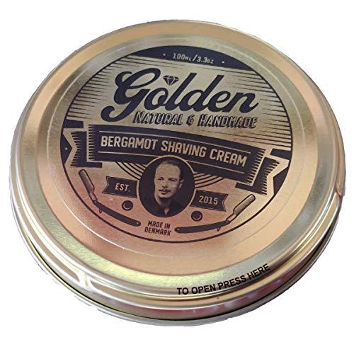 Crema de Afeitar para Hombre Natural   Golden Shave   100ml   Esencia Bergamote   Resultados Sorprendentes