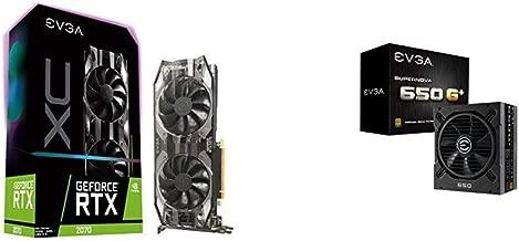 EVGA GeForce RTX 2070 XC GAMING, 8GB GDDR6, Dual HDB Fans & RGB LED Graphics Card with 650 G1+,80 Plus Gold 650W,Fully Modular, FDB Fan,10 Year Warranty,Power ON Self Tester,Power Supply