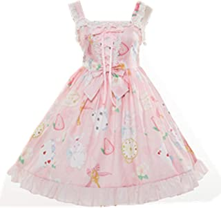 Sweet Lolita Printed Rabbit Dress Sleeveless Chiffon Lace JSK Princess Dress