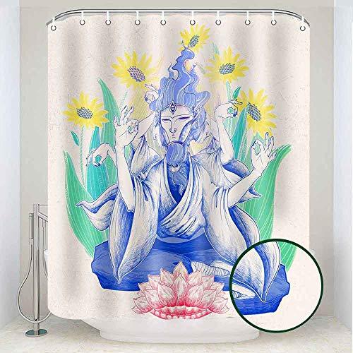 RHDORH Buddha Shower Curtain Golden Lotus Sunflower Sitting Buddha Statue Bohemia Indian Psychedelic Fabric Bathroom Decoration Set with 12 Hooks Waterproof Durable 72x72In YLLTRH612