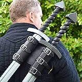 LYY Espada Medieval Cinturón Guerrero Vikingo Espada De Cuero Soporte De Rana con Correa De Hombro Estilo Mago Funda De Espada De Sable Doble para Juegos De rol,Negro
