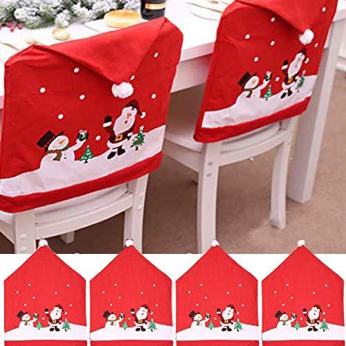 Outgeek Cubierta de la Silla de Navidad, 4PCS Creativo Lindo Muñeco de Nieve Claus Cubierta de la Silla Fiesta en casa Cena Cocina Mesa de Comedor Asiento Trasero Decoración del Partido Regalo