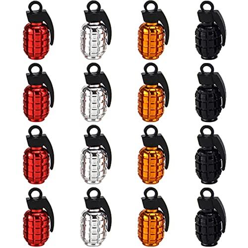 Greluma 16 Piezas Tapones de Válvula de Neumático de Rueda de Motocicleta para Coche, Camión y Motocicleta, Aluminio, Estilo Bomba de Granada, Cubierta de Válvula de Aire para Neumáticos de Bicicleta