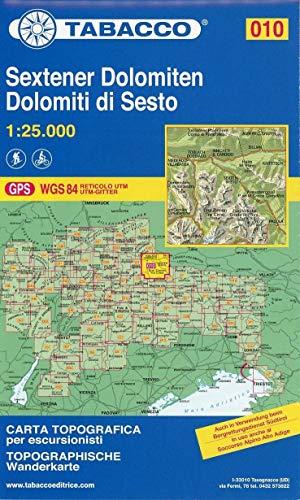 Sextener Dolomiten: Wanderkarte Tabacco 010. 1:25000: Dolomiti di Sesto (CARTES TOPOGRAHIQ - 1/25.000)