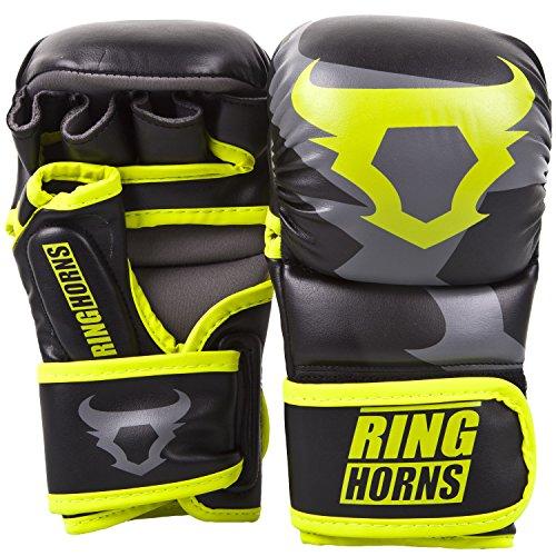 Ringhorns Charger MMA Sparring Handschuhe, Schwarz/Neon Gelb, L/XL