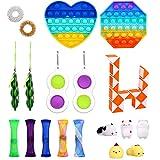 tiopeia Jouets Anti-Stress 21Pièces Jouets Sensoriels à Presser en Silicone pour Pop Bubble Fidget Toys Pack pour la Concentration et Le Calme it