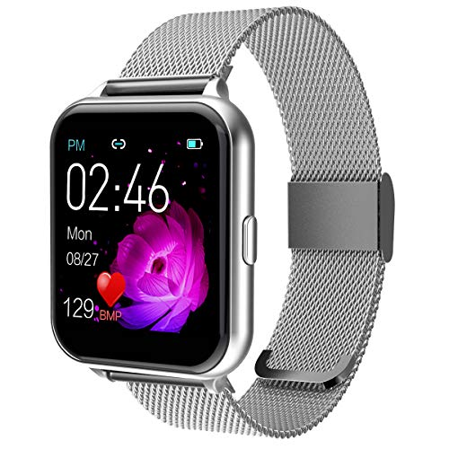 """Smart Watch for Men Women Yohuton Fitness Tracker with IP67 Waterproof for Android iOS Phone, Smartwatch with 1.54"""" Touch Screen Pedometer Heart Rate Sleep Monitor Weather Forecast(Stainless, Silver)"""