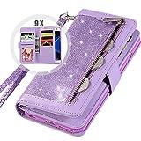 Galaxy S7 Edge Wallet Case for Women,Auker Trifold 9 Card Holder Folio Flip Bling Glitter Zipper Wallet Case with Strap/Money Pocket Folding Stand Sparkle Purse Case for Samsung Galaxy S7edge (Purple)