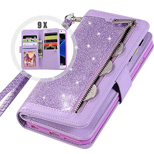 Galaxy S7 Edge Wallet Case for Women,Auker Trifold 9 Card Holder Folio Flip Bling Glitter Zipper Wallet Case with Strap/Money Pocket Folding Stand Sparkle Purse Case for Samsung Galaxy S7edge (Purple)