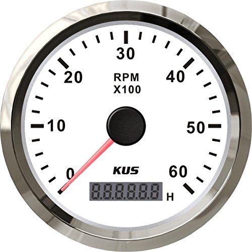 KUS Drehzahlmesser Drehzahlmesser mit Betriebsstundenzähler 6000RPM 85 mm 12V/24V mit Hintergrundbeleuchtung (weiß)