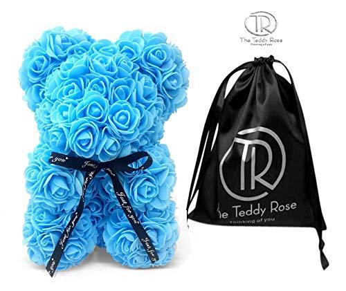 The Teddy Rose Blue Rose Bear - Cute 10-Inch Teddybear Handmade with Styrofoam Flower Petals - Artificial Roses Decor for Valentine's, Graduation, Mother's Day, Christmas, Anniversary…