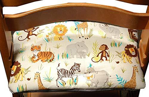 Kinderstuhlkissen, passend für Tripp Trapp, creme, Elefant, Zebra, Sitzkissen, C-Fashion-Design (blau Füchse) (creme Wildtiere)