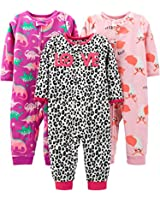 Simple Joys by Carter's Girls' Toddler 3-Pack Loose Fit Flame Resistant Fleece Footless Pajamas, Fox/Dino/Leopard Print, 3T