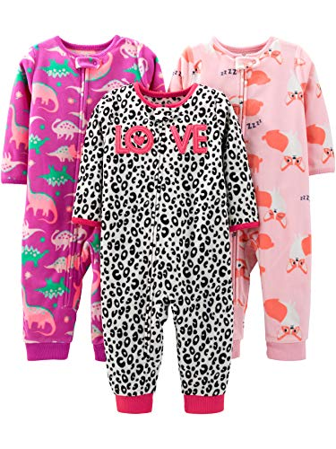 Simple Joys by Carter's Girls' 3-Pack Loose Fit Flame Resistant Fleece Footless Pajamas, Fox/Dino/Leopard Print, 24 Months