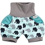 Lilakind' Kurze Kinder-Hose Baby Shorts Buxe Sommerhose Taschen Elefanten Türkis Grau Gr. 62/68- Made in Germany