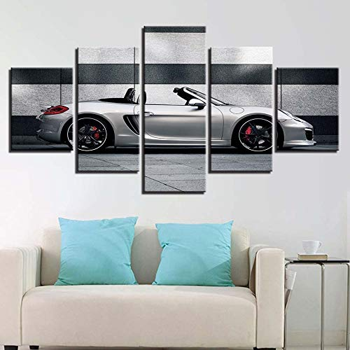 Zhuhuimin afbeelding op doek decoratie 5 poorten cool auto olieverfschilderij creatieve wand kunstdruk poster hotel combinatie woonkamer L-30x40 30x60 30x80cm Frame