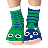 T-Rex & Triceratops Dinosaur Pals Mismatched Silly Dino Socks for Kids Boys Girls with Nonskid No Slip...