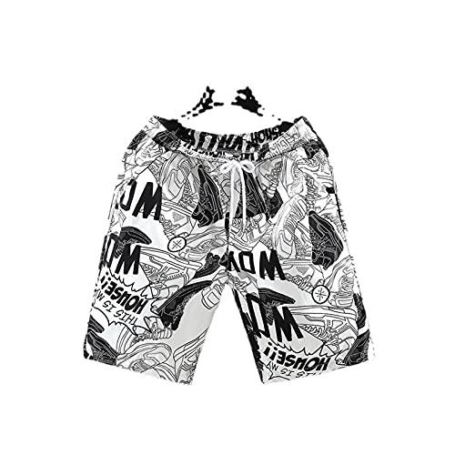 GRAFTS Pantalones cortos de playa para hombre, pantalones cortos de baloncesto de verano, deportes, con cordón, para entrenamiento, baloncesto, correr, NBA