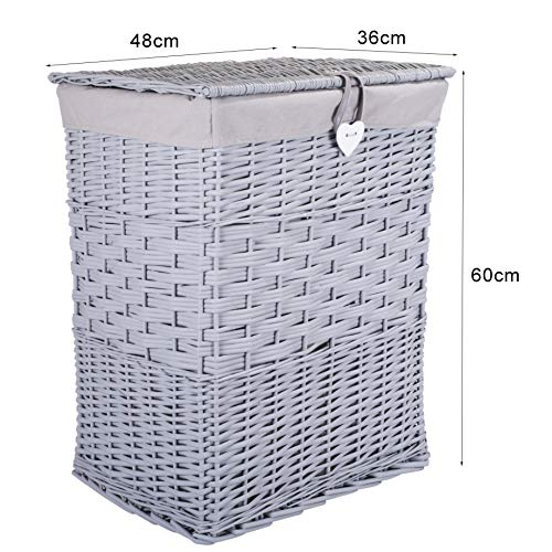 Premium Grey Paint Laundry Wicker Basket Cotton Lining With Lid Bathroom Storage (Large)