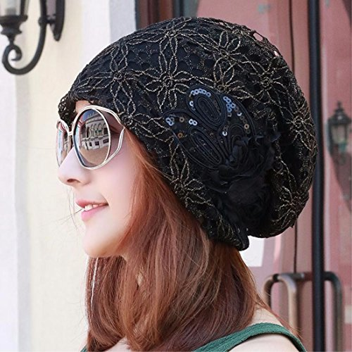 XINQING-mz Sombrero, verano, arco, bufanda, sombrero, cordones, huecos, sombreros de las mujeres, acondicionadores de aire y a prueba de polvo de sombreros de las mujeres,Black
