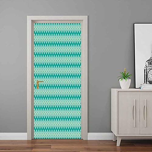 Teal Door Mural Decals Thin and Bold Horizontal Zigzag Waves Classical Chevron Pattern Geometrical Bedroom Wallpaper Teal Turquoise White Self-Adhesive Waterproof PVC - 30'W x 80'H