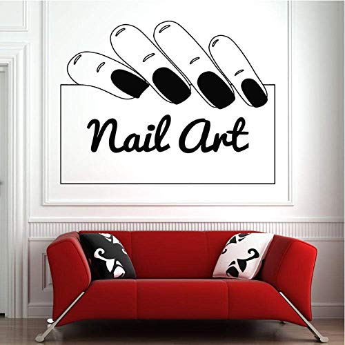 Nagel salon muursticker decor hand Windows sticker muurtattoo patroon nagellak kapper kunst afneembaar waterdicht 42X55cm