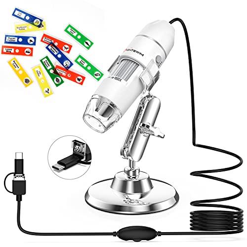 Microscopio Digital USB, Lightswim 50x y 1000x Mini Pocket Handheld Magnification con cámara HD 1080P 2MP / 8 Luces LED para teléfono Inteligente/Tableta/PC (Nivel de Inicio, NO iPhone/iPad, Blanco)
