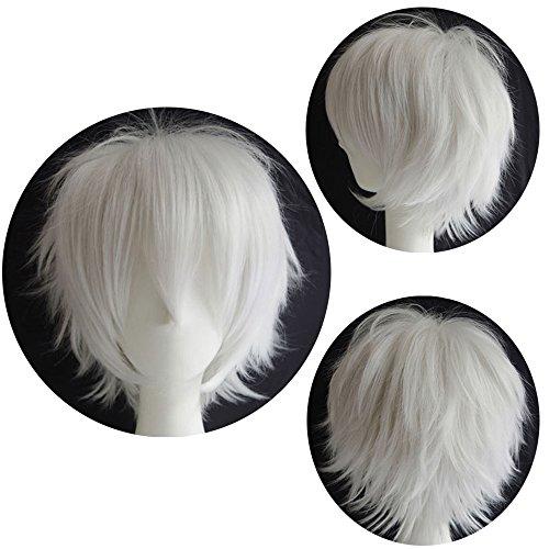 Cosplay Perücke Weiß Anime Wig Kunsthaar Perrücken Frauen Karnevalsperücke Fasching günstig Wigs