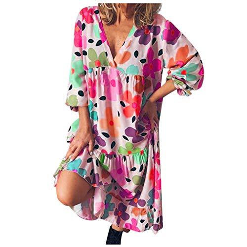 Kobay-Damen Mode Hautfreundlich Damenmode Blumendruck Lässig Langarm V-Ausschnitt Lose knielange Kleider Geschenke für Frauen