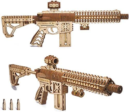 Wood Trick Assault Gun AR T Model Kit for Adults and Teens to Build with Telescoping Butt Fuse product image