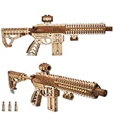 Wood Trick Assault Gun AR-T Model Kit for Adults and Teens to Build - with Telescoping Butt, Fuse, Sight and Clip for 12 Rounds - Detailed Construction - 23x8″ - 3D Wooden Puzzle - 14+