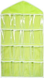 شنطة تخزين معلقة على الحائط تحتوي 16 جيبا شفافا لتنظيم الشرابات و حمالة الصدر والملابس الداخلية