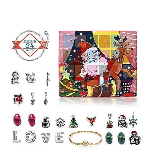 24PCS DIY Armband Schmuck Advent  Kalender-Countdown, Santa Claus Elk Box zu setzen  für Kinder Erwachsene 2 Ketten  22 Perlen 24 Tage